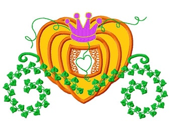 Princess Carriage Pumpkin Applique Embroidery Design    INSTANT DOWNLOAD