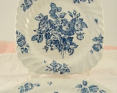 Vintage Wedding Luncheon Plates Square Johnson Bros England Devon Sprays Salad Plates Set of 4 Blue Transferware Vintage Bridal Shower