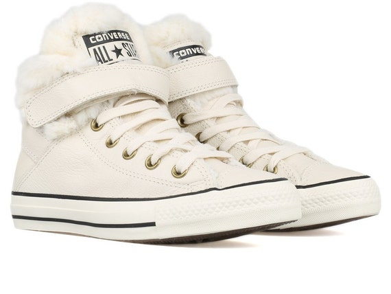 Converse Fur Leather High Top Boot Winter White Cream Ivory Boot Bling w/ Swarovski Crystal Rhinestone Chuck Taylor All Star Trainers Shoes