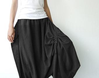 NO.26 Black Cotton Asymmetric Harem Pants