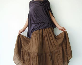 NO.5 Brown Gold Cotton Gauze, Hippie Gypsy Boho Tiered Long Peasant Skirt