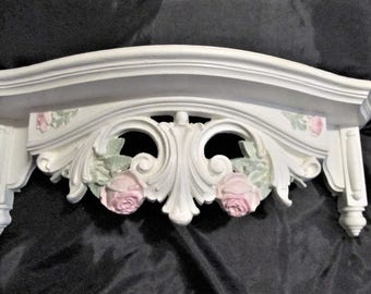 Shabby Chic White Ornate WALL SHELF/Bed Crown, Pink Roses, Hand Painted, Cottage Chic Decor, Romantic Home Decor. Victorian Decor