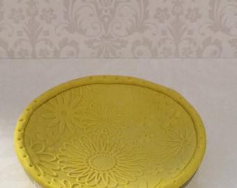 Polymer clay jewelry tray, honey comb jewelry bowl,handmade,bee tray.