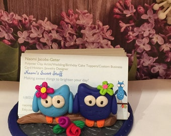Polymer clay owl card holder,desktop card holder,business cards