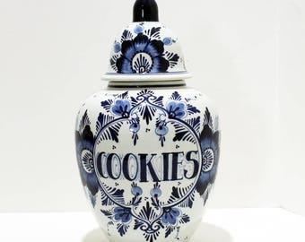 Vintage Hand Painted Delft Cookie Jar Ginger Jar