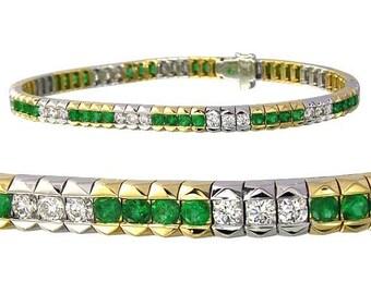 Tsavorite Green Garnet & Diamond 18K Two Tone Gold 7 inches (6ct tw) sku 1863-18K-2tone