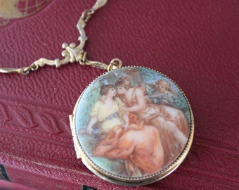 Beautiful Vintage Victorian LOCKET pendant with 2 women kissing and cupid and ornate chain,porcelain and gold necklace, lesbian locket