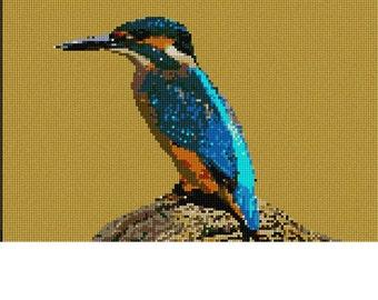 Needlepoint Kit or Canvas: Kingfisher Bird
