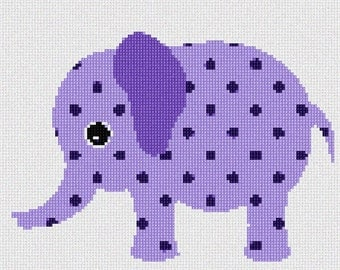 Needlepoint Kit or Canvas: Purple Elephant
