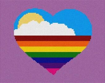 Needlepoint Kit or Canvas: Heart Rainbow