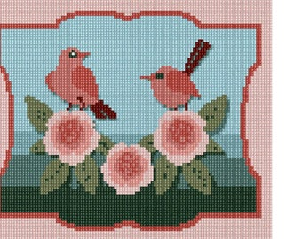 Needlepoint Kit or Canvas: Birds And Flowers
