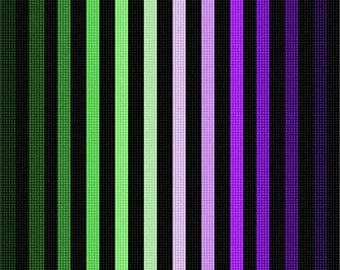Needlepoint Kit or Canvas: Ombre Colorbars Purple Green