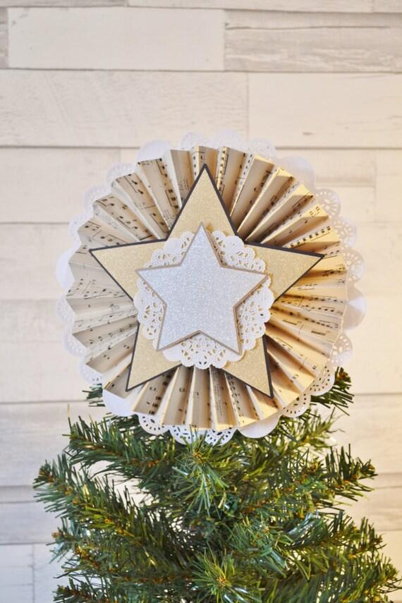 Vintage Sheet Music Rosette Christmas Tree Topper - Rustic Shabby Chic Inspired Christmas Tree Star - Rosette - Handmade - CUSTOM AVAILABLE
