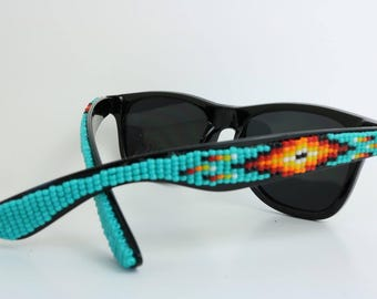 Black Frame Turquoise Beaded Sunglasses - Native American Handcrafted