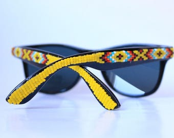 Free Shipping! Yellow Beaded Spring Black Frames