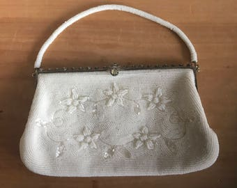1950s/60s Beaded White Evening Bag with Top Beaded Handle, Rhinestone Details and Floral Design Wedding Purse