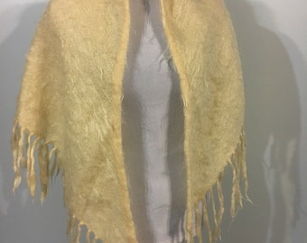 1960s made in scotland ivory mohair shawl wrap