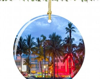 Maimi Christmas Ornament in Porcelain Featuring South Beach, Florida
