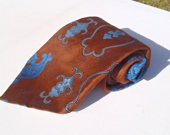 Vintage 1970s Wide Brown Polyester Tie with Blue Paisley by Wembley