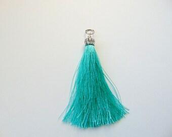 Mint Silk Tassel, Zirconia Micro Pave Cap Black Tassel Pendants, Jewelry Making Tassels,  Handmade Tassels