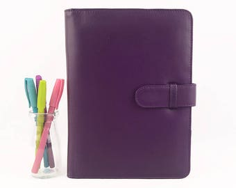 READY TO SHIP! A5 Purple Leather PadFolio / Portfolio / Note Pad Holder, Personalized, 2 inside pockets & buckle closure.