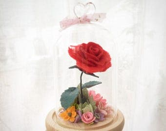Rose in glass.  Flowers in glass.  Valentines.  Mother's day.  Birthday gift.  Home decor.  Birthday gift.  Wedding gift