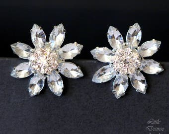 Bridal Stud Earrings Rhinestone Crystal Flower Post Earrings Stud Earrings Rhinestone Wedding Jewelry Vintage Style Earrings ANASTASIA