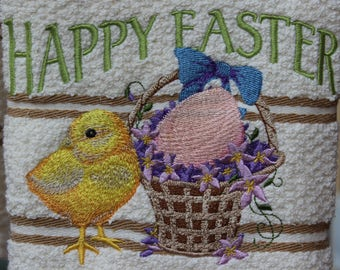 "Embroidered ""Vintage Easter Chick"" Kitchen Towel"