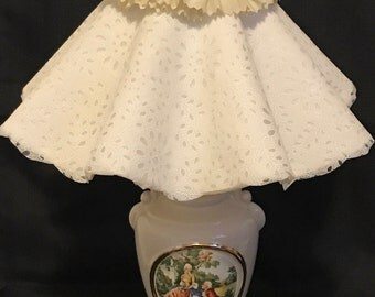 Victorian Lamp Accent Lamp with Frilly Lamp Shade, Boudoir Lamp, Cottage Chic SALE