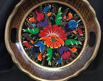 Mexican Batea Tray Bright Decorative Flowers