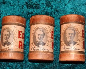 Lot of 3 Vintage Antique Thomas Edison Cylinder Record Album Phonographs Over 100 Years Old Sheep Jennie Irish Jigs 1908