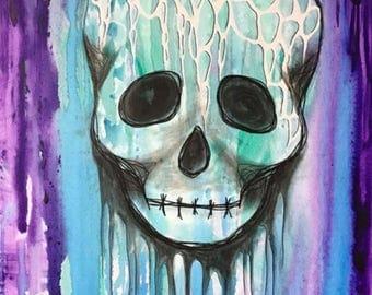 Skull web drip painting 8x10 print