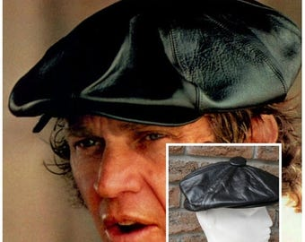 SALE 60's 70s Leather Black  6 panel NewsBoy Cap Bonnet,Custom made by Margo's Toronto Canada. Iconic Steve McQueen style.