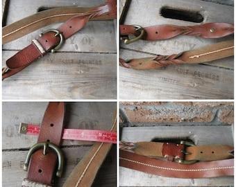 SALE Vintage Leather thick Soft Calf Brown Hippie Boho Braid twist belt , Heavy Brass Buckle ,hemp stitch, Broken in just right for waist 36