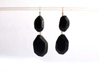 hand made faceted black chandelier earrings