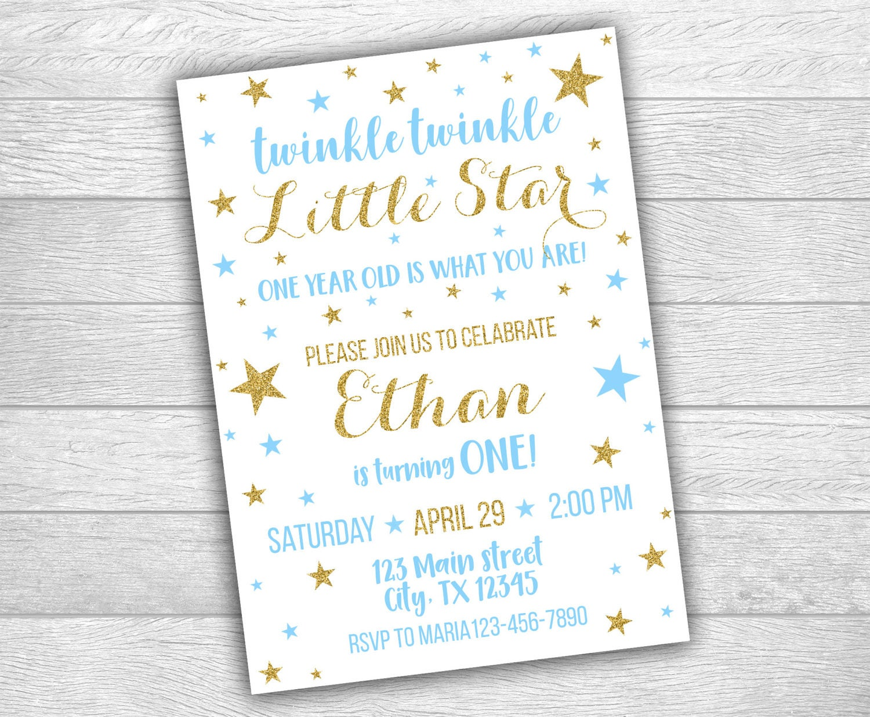 Twinkle Twinkle Little Star Invitation, Digital Printable Invitation ...