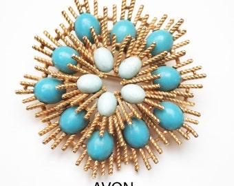 Avon Atomic Flower Brooch - turquoise Blue  robin egg cabochon - Atomic Starburst Pin