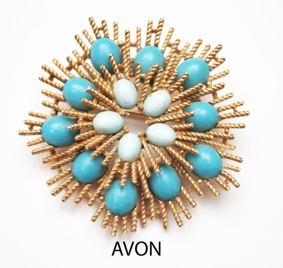 Avon Atomic Flower Brooch - turquoise Blue  robin egg cabochon - Atomic Starburst Pin