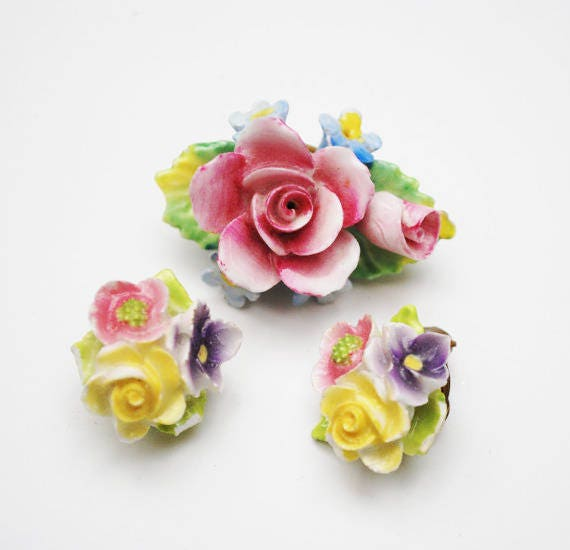 Artone Flower Brooch earring set -  Bone China -Pink Blue  ceramic -Made in England - Floral pin =Clip on earrings