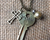 Grateful - stamped vintage key necklace