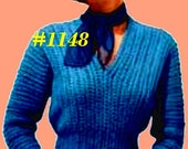 Vintage 1950s Vivacious V-Neck Pullover 1148 PDF Digital Crochet Pattern