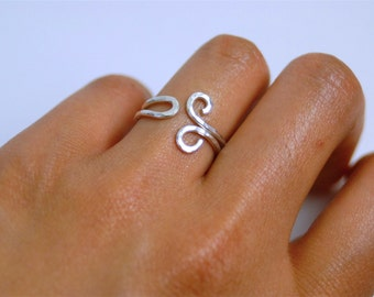 Whimsical Pounded/ Hammered Sterling Silver Wire Ring