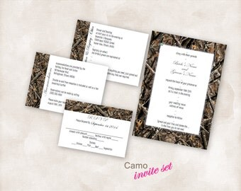 Wedding Invite Set TEMPLATE Instant Download printable (camo 5X7 with 3 cards) Just add your info and print!