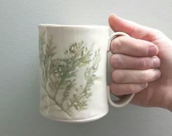 Cedar pattern green and cream ceramic mugs - hand built pottery