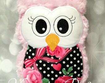 Light Pink Swirl Plush Owl (Ready To Ship) - No Personalization