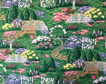 Garden Flowers and Benches Fabric – by the Half Yard