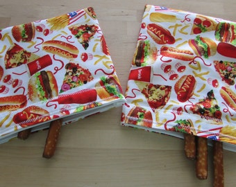Reusable snack and sandwich bags in hamburger and fries fabric