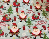 Christmas santa cotton fabric by the yard