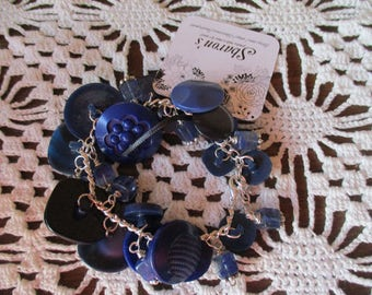 Vintage Blue Button Bracelet and Necklace
