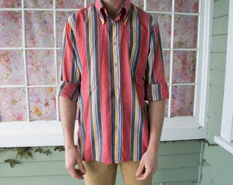 Vintage Men's Striped Button Down